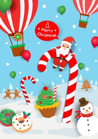 Illustration of Christmas holiday with sweets candy and santa claus on snow background.