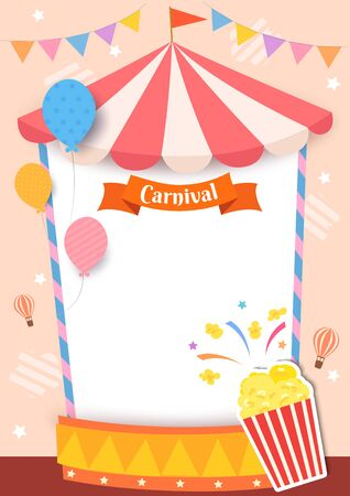 Illustration of carnival tent frame with popcorn and balloons for party