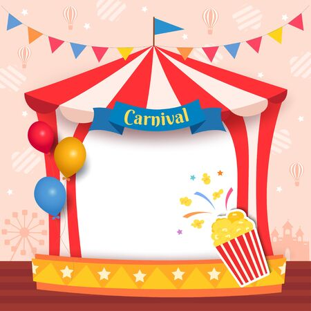 Illustration of carnival tent frame with popcorn and balloons for party Foto de archivo - 133745395