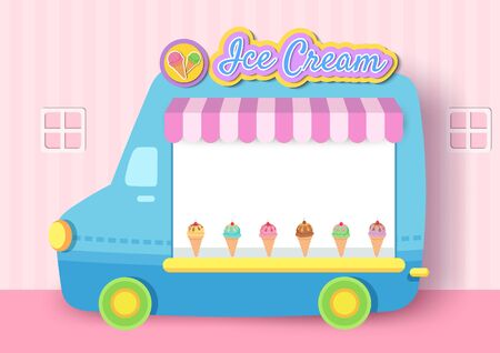 Illustration of Ice cream truck frame design for menu template.