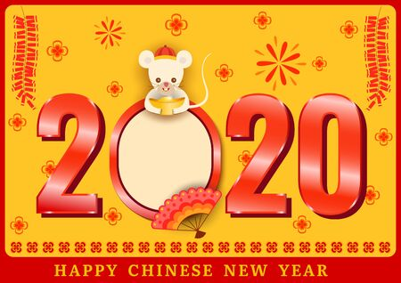 Illustration vector of 2020 Happy Chinese new year with the year of rat zodiac.