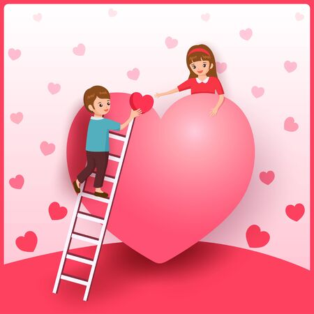 Illustration of a man climbing a ladder and give heart to woman for Valentines day