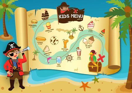 Illustration vector of Pirate boy look at the kids menu map on beach background.