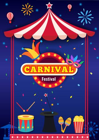 Illustration vector of carnival party design with tent frame and element Illustration