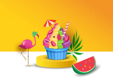 Illustration vector of summer shaved ice decorated with flamingo and watermelon on yellow background 3d style Illustration