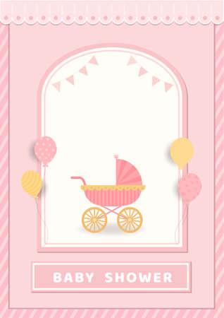 Illustration vector of Baby Shower card design with stroller on pink background.