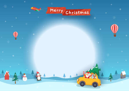 Merry Christmas banner with santa claus in car on snowy winter background