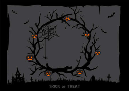 Halloween dark background with branch wreath and lantern pumpkins
