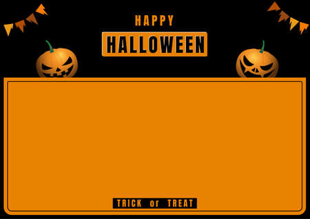 Halloween banner with pumpkin devil on black and orange frame 矢量图像