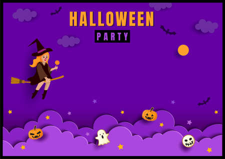 Halloween poster with witch on purple background 矢量图像