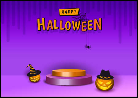 Halloween design 3d style with pumpkin on purple background