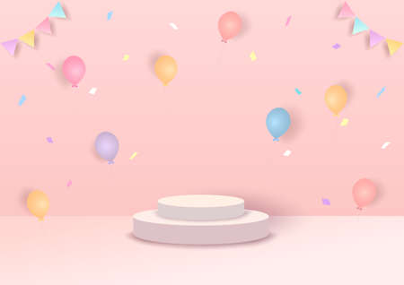 Illustration 3d style party with balloons on pink background.