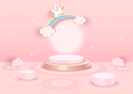 Illustration vector 3d style of unicorn and rainbow with podium stands on pink cloud pattern background.