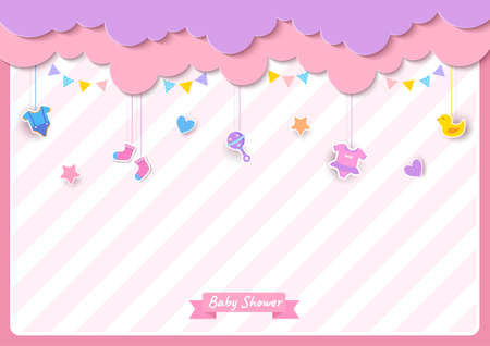 Baby shower card with clothes and toy on pink background