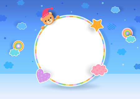 Illustration 3d style with teddy bear on frame
