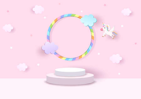 Platform 3d background with rainbow and unicorn on pink