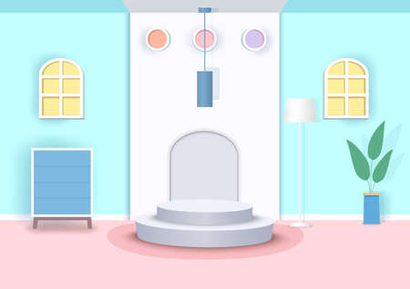 Illustration 3d interior scene with cylinder podium.