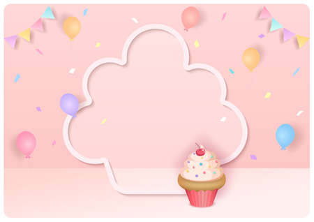 Illustration 3d style with cupcake on party background. 矢量图像