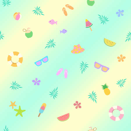 Summer items seamless pattern pastel color