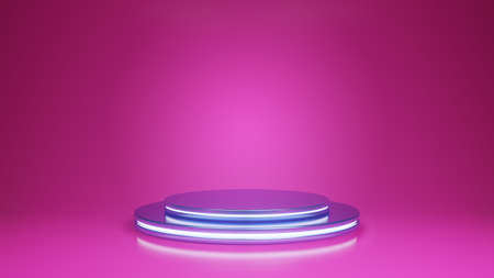 3d render with light podium stand on pink backgound