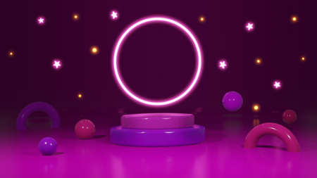 3d render with night party on purple background 免版税图像