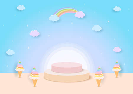 3D Illustration of rainbow ice cream cone with display stand on pastel background