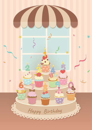 Illustration of Birthday cupcakes with candles of number 0 to 9