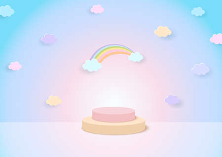 3D Illustration of rainbow background with display stand