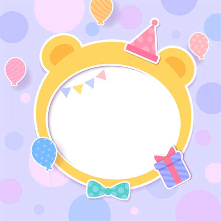 Birthday card with cute party frame