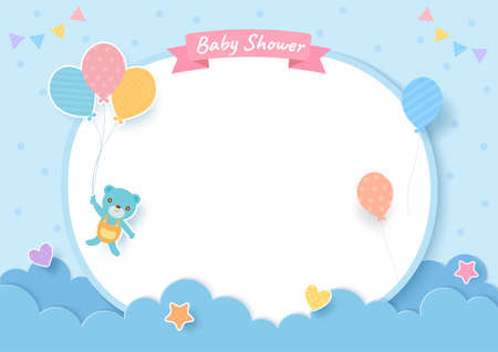 Baby shower card with teddy bear and balloons on blue background