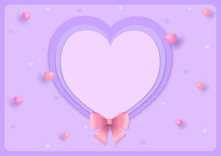 Heart shape with pink bow for Valentine's day on purple background