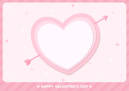 Valentine's card pink heart with arrow and frame