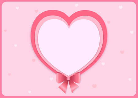 Heart shape with pink bow for Valentine's background