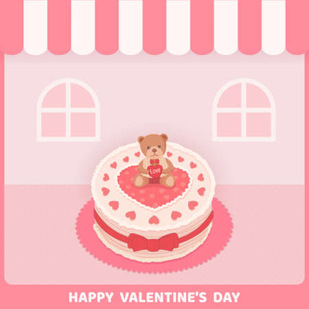 Valentine's card with lovely cake with teddy bear on pink cafe background.