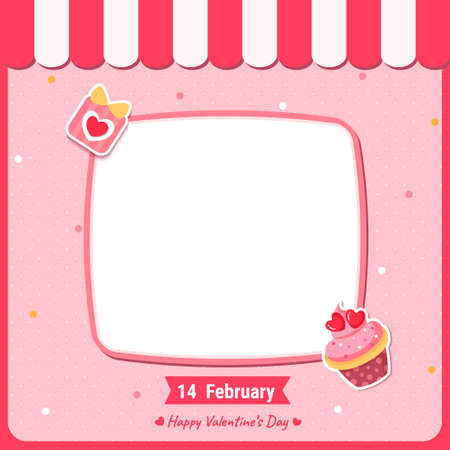 Valentine's card with cupcake and gift on frame 矢量图像