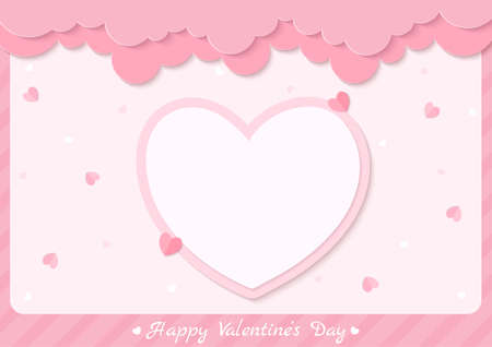 Valentine's card with pink heart and frame