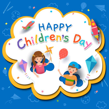 Happy Children's Day with boy and girl playing toys on background.