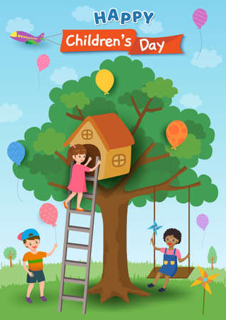 Illustration of Happy Children's Day poster design with kids playing on tree house and swing 矢量图像