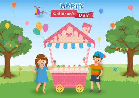 Illustration of Happy Children's Day poster design with kids eat ice cream cone on party background.