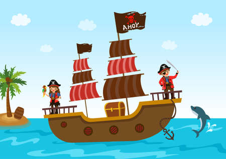 Illustration of pirate boy and girl with ship and treasure chest on ocean background.