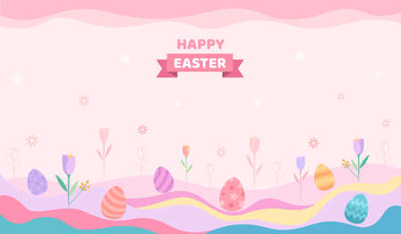 Illustration vector of Easter festival design with colored eggs on tulips meadow pastel background. 矢量图像