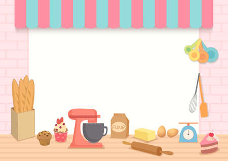 Illustration vector of bakery frame template with baking Equipment on kitchen background. 矢量图像