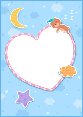 Illustration of sleeping bear on heart frame decorated with star moon and cloud on blue background.