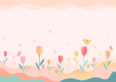 Illustration vector of spring background with tulip flowers and butterfly on meadow