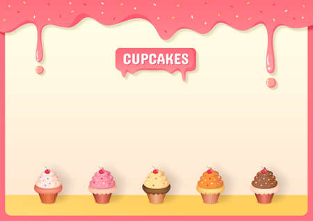 Illustration vector of cupcakes menu decorated with strawberry creamy frame