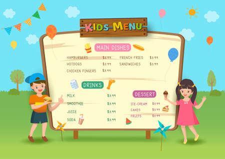 Kids Menu frame design with boy and girl on party in park background.