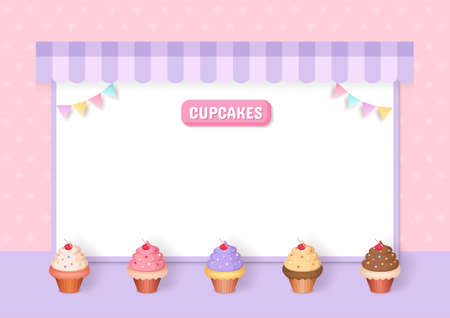 Illustration vector of cupcakes menu decorated with party frame