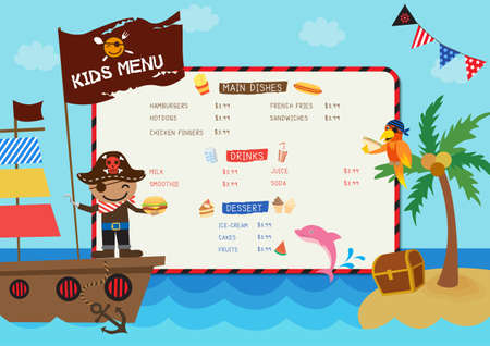 Illustration Kids menu design with pirate boy on ocean background. 矢量图像