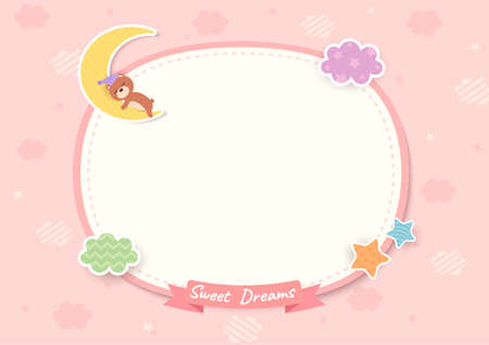 Sweet dream frame with teddy bear sleeping on pink background 矢量图像