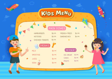 Kids Menu frame design with boy and girl on blue background. 矢量图像